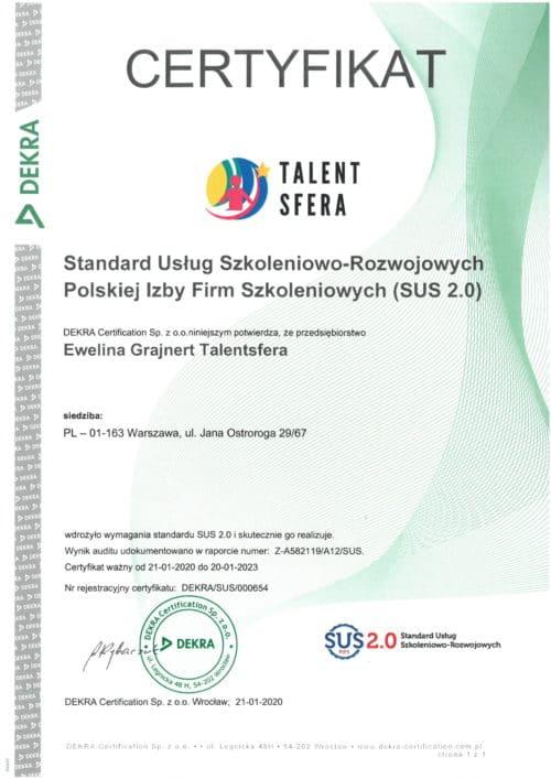 Certyfikat Jakości SUS 2.0